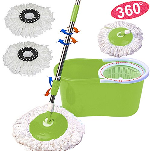 Microfiber Spining Ensorcelling Spin Mop W/Bucket 2 Heads Rotating 360° Easy Floor Mop Flexible Plastic Handle Brand New