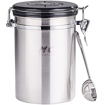 MC MIRACASE Large Airtight Coffee Canister with Built-in Valve and Stainless Steel Scoop, 20 oz
