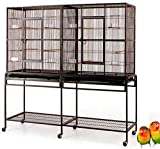 Mcage Large Double Flight Bird Wrought Iron Double Cage w/Slide Out Divider 3 Levels Bird Parrot Cage Cockatiel Conure Bird Cage 63 Lx19 Dx64 H W/Stand on Wheels (63 Lx19 Dx64 H, Black Vein) Larger Image