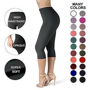Sejora SATINA High Waisted Ultra Soft Capris Leggings - 20 Colors - Reg & Plus Size (One Size, Black)