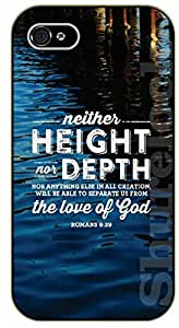 iPhone 4 / 4s Bible Verse - Lake: Neither height nor depth nor anything in all creation. Romans 8:39 - black plastic case / Verses, Inspirational and Motivational