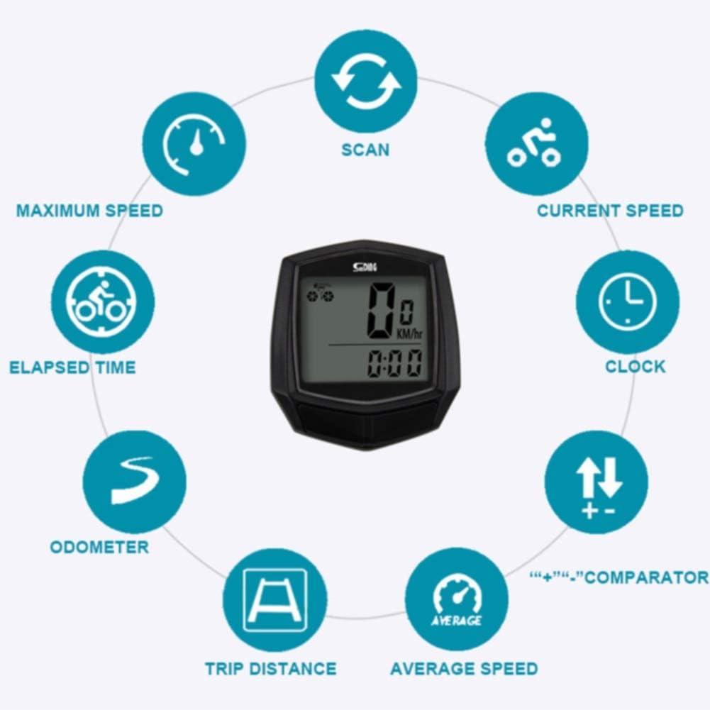 JYSL wasserdichte Thermometer Fahrrad Tachometer Wired Sensor-Entfernungsmesser Radcomputer Digitale Stoppuhr Hintergrundbeleuchtung Multifunktions