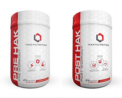 HAK Nutrition, Pre Hak - Pre Workout/ Post Workout Supplement, 2 pack (Raspberry Lemonade & Watermelon) by HAK Nutrition