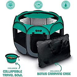"Ruff 'n Ruffus Portable Foldable Pet Playpen + Carrying Case & Collapsible Travel Bowl (Extra Large (48"" x 48"" x 23.5""))"