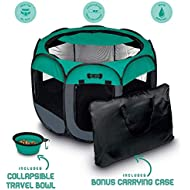 "Ruff 'n Ruffus Portable Foldable Pet Playpen + Carrying Case & Collapsible Travel Bowl (Medium (29"" x 29"" x 17""))"