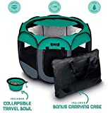 "Image of Ruff 'n Ruffus Portable Foldable Pet Playpen + Carrying Case & Collapsible Travel Bowl (Extra Large (48"" x 48"" x 23.5"")) (Medium (29"" x 29"" x 17"") with Free Bonus, Aqua)"