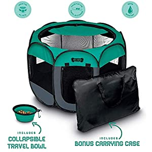 Ruff 'n Ruffus Portable Foldable Pet Playpen + Carrying Case & Collapsible Travel Bowl | Indoor/Outdoor use | Water Resistant | Removable Shade Cover | Dogs/Cats/Rabbit | Available in 3 Sizes 11