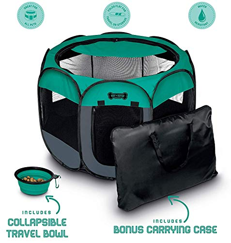 Ruff 'n Ruffus Portable Foldable Pet Playpen + Carrying Case & Collapsible Travel Bowl | Indoor/Outdoor use | Water…