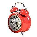 "Kaimao Vintage Silent Twin Bell Alarm Clock 3"", No Tick Cute Luminous Table Clock - Color Random Yellow Red Blue Green Pink"