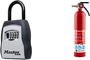 Master Lock 5400D Set Your Own Combination Portable Lock Box, 5 Key Capacity, Black & First Alert 1038789 Standard Home Fire Extinguisher, Red