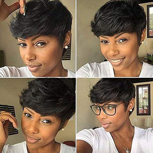 RUISENNNA Short Hair Wig Synthetic Curly Wig for Black Women Short Black Pixie Cut Wigs Heat Resistant Fiber Hair Wigs