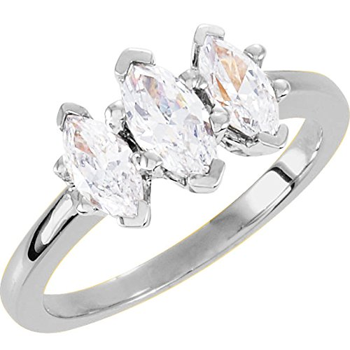 1 Carat 14K White Gold Marquise Cut 3 Three Stone Diamond Engagement Ring (H Color VS2 Clarity)