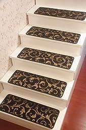 Blended Jacquard Antiskid Stairs Treads Non-Slip Carpet Set of 4