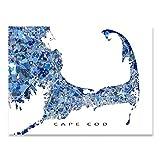 cape cod decorating Cape Cod Map Print, Massachusetts USA, City Street Art, Blue