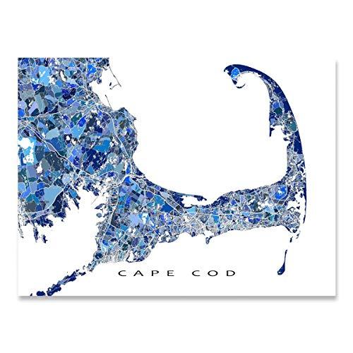 Cape Cod Map Print, Massachusetts USA, City Street Art, Blue