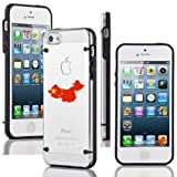 Apple iPhone 4 4s Ultra Thin Transparent Clear Hard TPU Case Cover China Chinese Flag (Black)