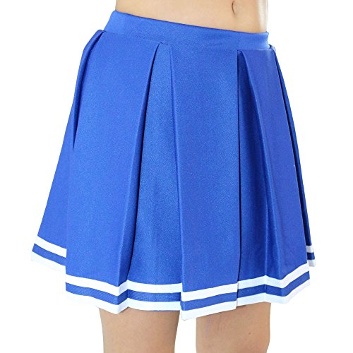 Danzcue Womens Knit Pleat Cheerlearding Uniform Skirt, Royal/White, X-Small