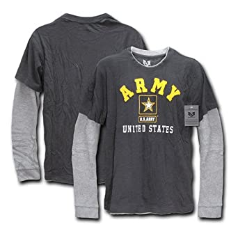 Amazon.com: Men's Military Double Layer Long Sleeve T-Shirt - Army ...