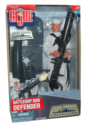 GI Joe Year 2000 Echo Pearl Harbor Collection Series 12 Inch Tall Soldier Action Figure - BATTLESHIP ROW DEFENDER with Sailor Figure, Sailor Uniform with Trousers, Jumper and Neckerchief, .50 Caliber Water-Cooled Machine Gun, Hat, Dress Shoes and Dog (Water Cooled Machine Gun)