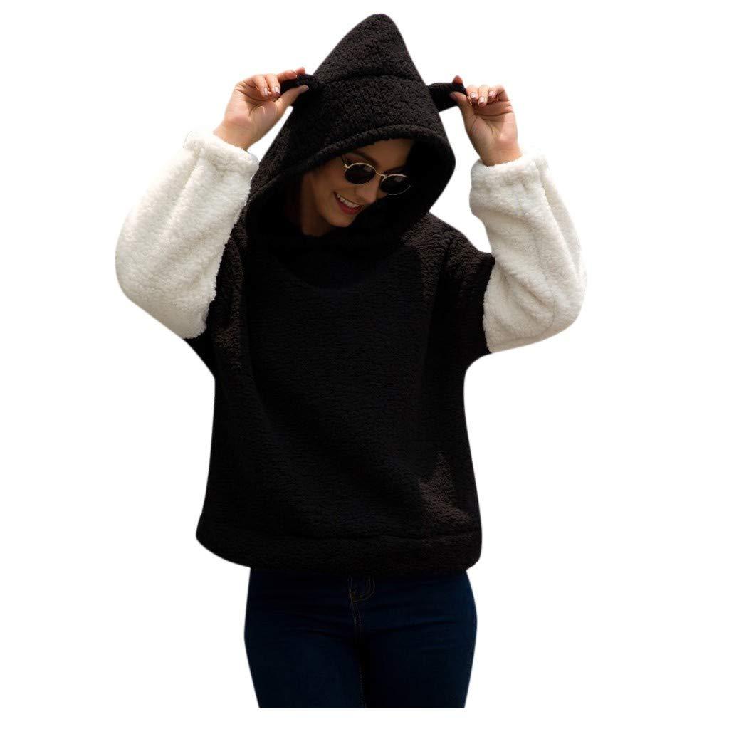 WUAI-Women Cozy Oversize Fluffy Fleece Sweatshirt Pullover Outwear Hooded Coat(Black,Small) by WUAI-Women