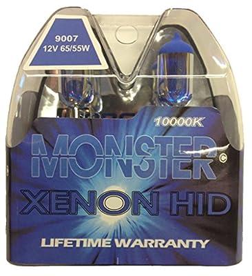 EuroDezigns 9007 Monster Blue Headlights - Dual High/Low 10,000K Xenon-Krypton HID Halogen Replacement Bulbs - (Pair)
