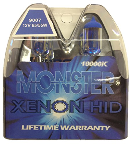 (EuroDezigns 9007 Monster Blue Headlights - Dual High/Low 10,000K Xenon-Krypton HID Halogen Replacement Bulbs - (Pair))