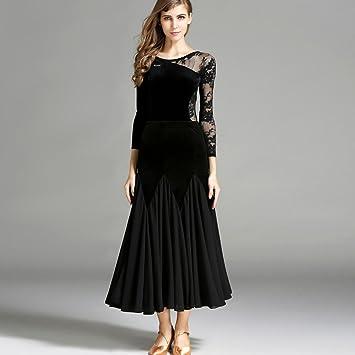 5d1f4e9eda4 Ballroom Dancing Dresses For Women Asymmetric Sleeves Lace Velvet Splice  Modern Dance Competition Costume