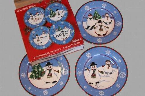 (Sakura Holiday Trio; 4-Stoneware Dessert / Salad Plates)