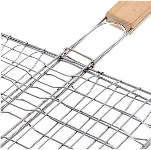 Pratique Barbecue Panier Griller avec manche en bois Portable Grill BBQ net remplacement Barbecue net clip pour la viande de poisson
