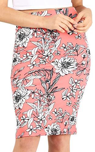 Scuba Pencil Skirt Midi Bodycon Skirt Below Knee Skirt, Office Skirt High Waist (Size Small, Pink Floral)