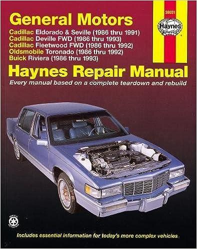 gm: eldorado, seville, deville, riviera & toronado, '86'93 (haynes repair  manuals) 1st edition