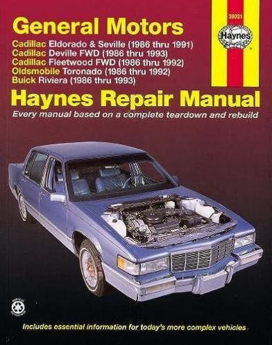 gm eldorado seville deville riviera toronado 86 93 haynes rh amazon com 1965 buick riviera repair manual 1969 buick riviera repair manual