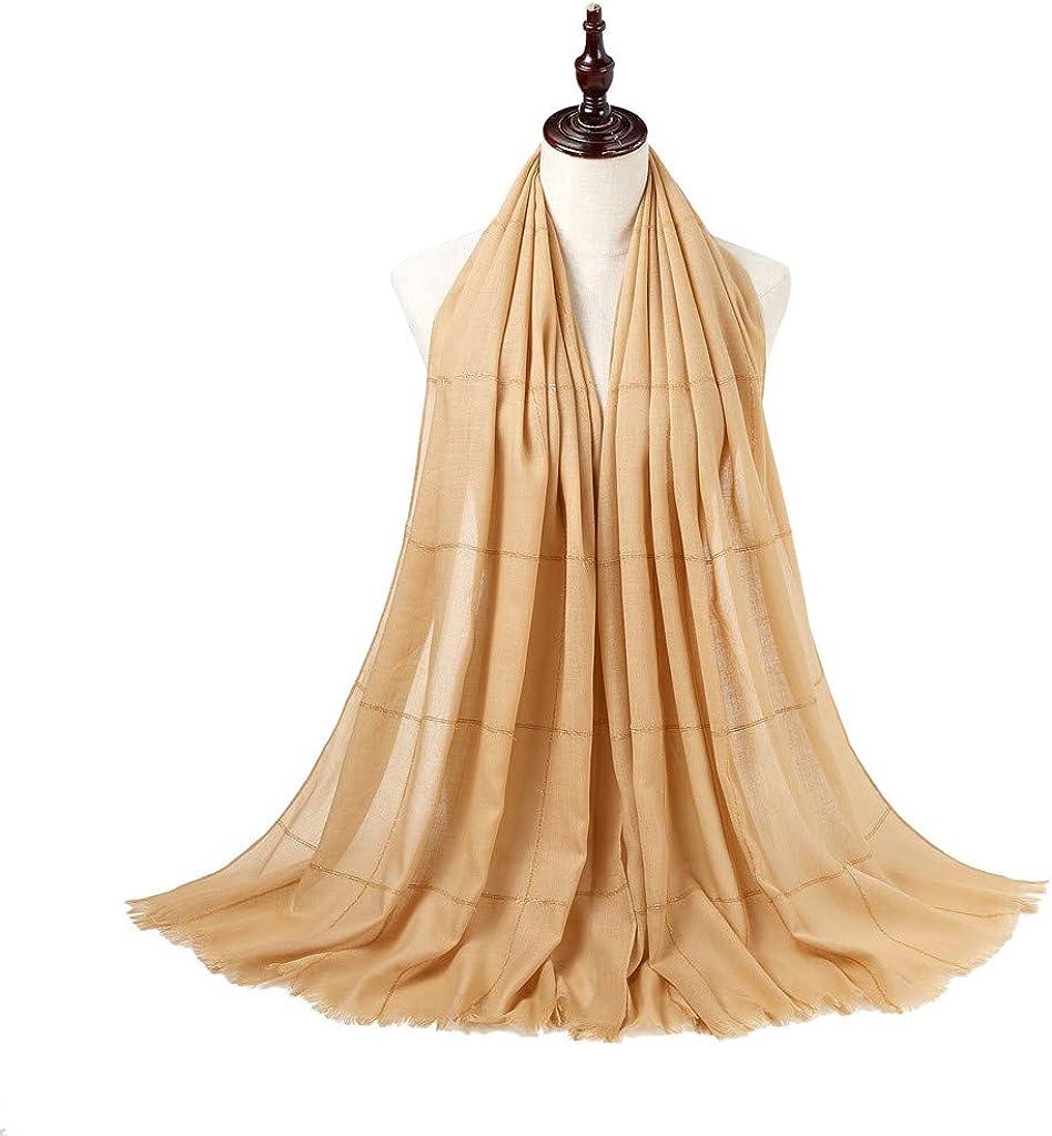 ZOMUSAR Fashion Women Plaid Sparkling Long Scarf Muslim Hijab Wrap Shawl Headwear Scarf for Ladies