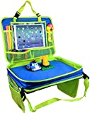 "Kids Travel Tray-4 in 1 Car Seat Travel Play Tray,Backseat Storage Organizer,Carry Bag and iPad & Tablet Holder All in One-Toddlers Lap Tray(17""x13"")-Great for Activity, Snacks and Play(Blue)"