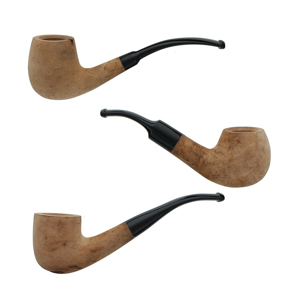 Briar Tobacco Pipes - Assorted 3 Pack of Bent Smoking Pipes with Unfinished Bowls by Barlow & Dorr