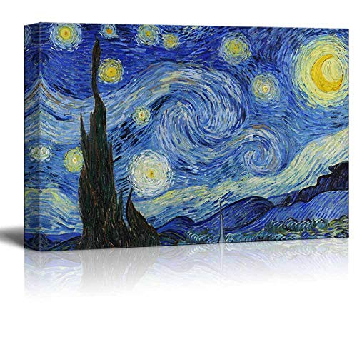 signwin - Canvas Wall Art - Van Gogh Star Moonlight Night - Poster Giclee Wall Decorations for Living Room High Definition Printed - 16x24 inches ()
