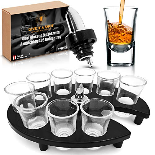 """Give it a shot"" – Stylish shot glass set in a Shot tray – Durable, thick based shot glasses! Shot glasses 9 pack, perfect for parties and events! + Free Gift, Professional Bottle Pourer."