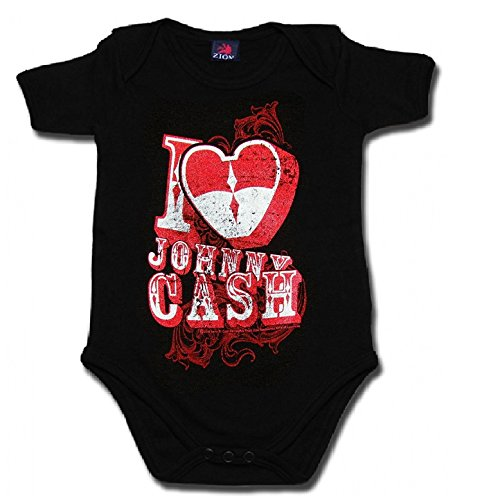 Johnny Cash Unisex Baby Bodysuit I Love Johnny Cash Black Onesie (Small / 6 - Onesie Cash