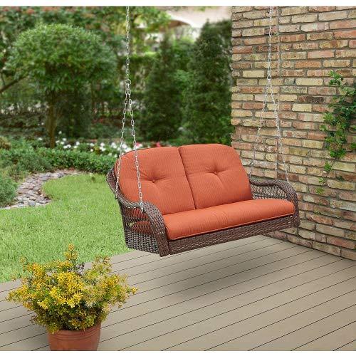 Better Homes and Garden Azalea Ridge Relax Carefree Comfortable Seat Powder Coating Steel Frame Polyester Fabrics Cushion Outdoor Wicker Swings 2 Seats  Orange Brown