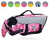 Vivaglory Dog Life Jackets, Pet Life Vest Lifesaver Dog Life Preserver with Extra Padding for Dogs, Camo Pink, S