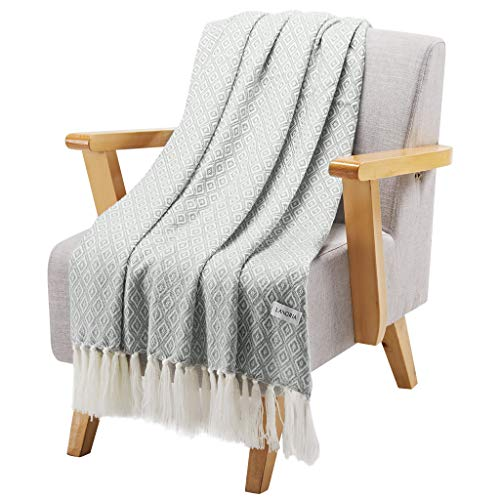 LANGRIA Geometrical Pattern Wearable Throw Blanket with Tassels Knitted Soft Warm Shawl Lightweight Cozy Wrap for Sofa Coach Bed All-Seasons Blanket Easy Care Machine Washable (50x60, Diamond Gray)