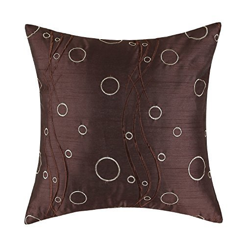 Euphoria CaliTime Cushion Cover Throw Pillow Case Shell 18 X 18 Inches, Brown Ground Waves Circles Rings Embroidered - Embroidered Ring Pillow