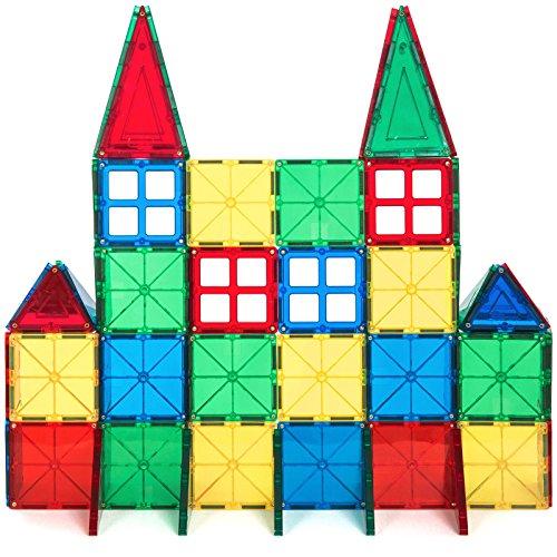 Alek...Shop Educational Construction Toys Magnetic Building Kids 60Piece Tiles Toy Set w/ Carrying Case Multicolor by Alek...Shop (Image #5)