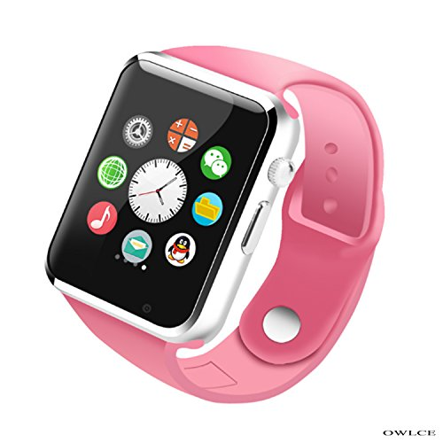 OWLCE Smart Watch Wireless Bluetooth Wrist Watch Phone with Camera and NFC Bluetooth 3.0 or Higher/Easy Connection/Make Calls/Support SIM/TF for iOS/Android Above Smartphones (Pink) ()