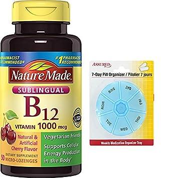Naturaleza hizo 1000 MCG de vitamina B-12 Sublingual, cuenta 50 con gratis 7