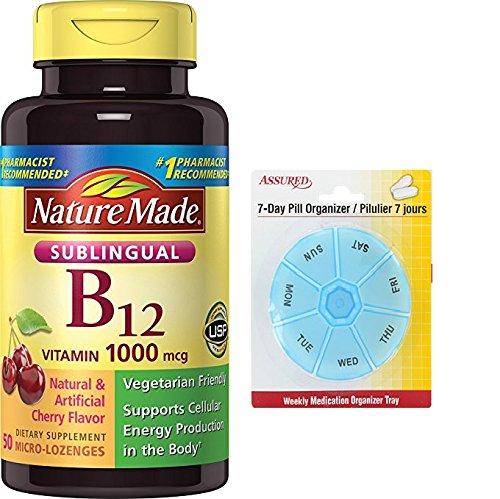 Amazon.com: Naturaleza hizo 1000 MCG de vitamina B-12 Sublingual, cuenta 50 con gratis 7 días plástico píldora organizadores: Health & Personal Care