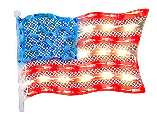 15 Lighted Patriotic Fourth of July American Flag Window Silhouette Decoration, Model: 9459874, Home & Garden Store ()