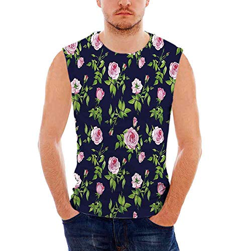 Navy and Blush Mens Comfort Cotton Tank Top,Vintage Roses and Buds Romantic Fem