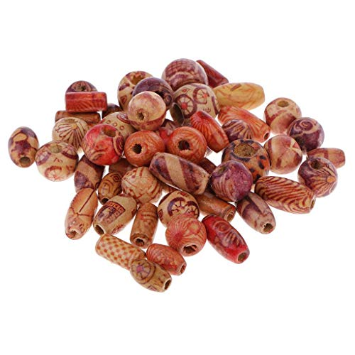 50 Pcs Assorted Colour Size Wood Beads Jewelry Making Loose Spacer Charms