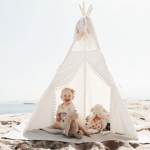 - little dove Kids Teepee Tent 6' Children Indian Play Tent Lace and Pompom Ball Design with Carry Case Led String Light Feathers Decoration Pre-Package